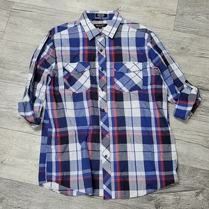 Eighty Eight Size L Blue Red Checkered Button Up